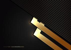 Abstract black triangle background with striped lines golden. Luxury style. vector