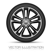 Realistic alloy wheel car tire style sport on white background vector illustration.