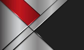 La plata metálica de la bandera roja abstracta se superpone con el ejemplo futurista moderno del vector del fondo del diseño del espacio en blanco gris oscuro.