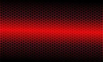 Patrón de malla hexagonal metálico de luz roja abstracta en ilustración de vector de fondo futurista moderno de diseño negro.
