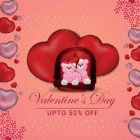 Happy Valentine's Day concept on red heart background vector