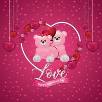 Happy Valentine's Day concept on red heart with teddy background vector