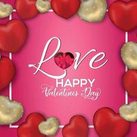 Happy Valentine's Day concept on red background vector