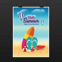 Beach party flyer mockup vector