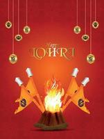 Creative illustration for happy lohri celebration vector