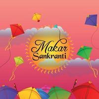 Happy Makar Sankranti cometas de colores con carrete de hilo vector