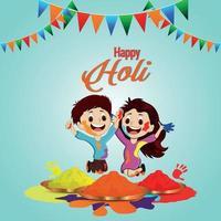 celebración del festival indio holi con bote de barro de color y globo vector