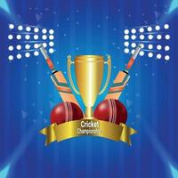 Cricket championship tournament match with golden trophy vector