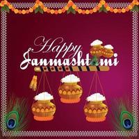 Happy janamashtami celebration background vector