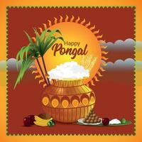 tarjeta de felicitación para la feliz celebración pongal con olla de barro y kalash vector