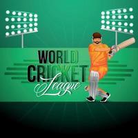 Tarjeta de felicitación de partido de campeonato de cricket con jugadores de cricket vector