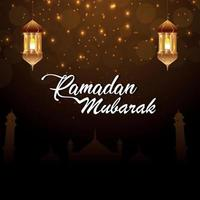 tarjeta de felicitación de ramadan kareem o eid mubarak vector