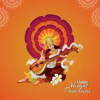 Vasant panchami greeting card with veena and books vector
