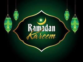 Ramadan kareem greeting card illustration with islamic lamp vector