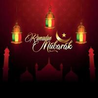 Ramadan mubarak illustration greeting card vector