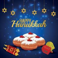 Happy hanukkah greeting card with candle stand vector