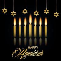 Celebration of happy hanukkah with golden candle and star vector