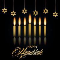 celebración de feliz hanukkah con vela dorada y estrella vector