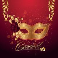 Carnival celebration with golden mask vector