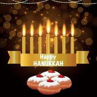 Happy hanukkah banner with creative element set and sweet bread vector