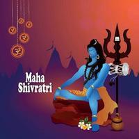 Maha shivratri creative shiling background vector