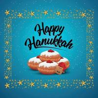 Happy hanukkah with sweet bread and gold candle vector