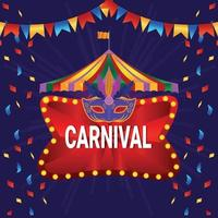 Circus vintage carnival with ferris wheel and circus tent vector