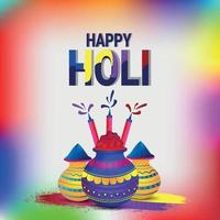 Creative happy holi greeting card vector