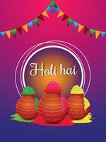 Happy holi background with colorful mud pot vector