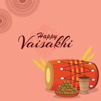 feliz festival de baisakhi con dhol vector