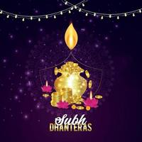 feliz festival diwali de la luz con diwali diya creativo y fondo vector