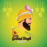 guru gobind singh jayanti sikh dasam guru celebratrion vector