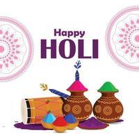 estilo de fuente creativa happy holi con olla de barro de color y tambor vector