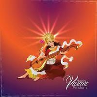 Vasant panchami creative illustration of goddess saraswati and background vector