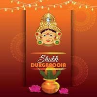 Happy durga pooja with ashtami background design vector