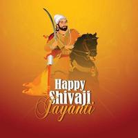 illustration of chhatrapati shivaji maharaj jayanti vector