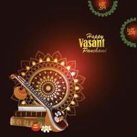 Vasant panchami creative background with  veena and books vector