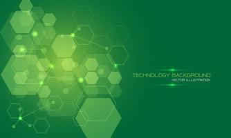 Abstract green technology energy hexagon geometric light with text on blank space design modern futuristic background vector illustration.