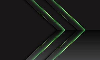 Dirección metálica de doble flecha verde abstracta en gris oscuro con diseño de espacio en blanco ilustración de vector de fondo de tecnología futurista moderna.