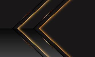 Dirección metálica de flecha de luz dorada abstracta en gris oscuro con diseño de espacio en blanco ilustración de vector de fondo de tecnología futurista moderna.