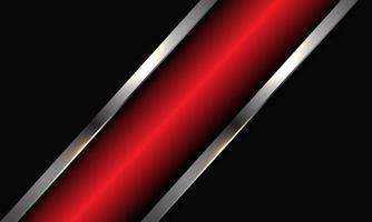 Barra de línea de plata metálica roja abstracta en diseño gris oscuro ilustración de vector de fondo futurista de lujo moderno.