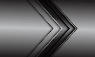 Dirección de flecha de línea negra gris abstracta en ilustración de vector de fondo futurista moderno diseño gris metálico.
