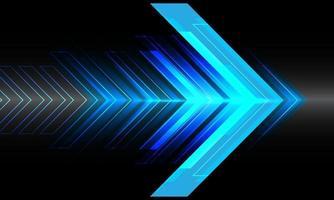 Dirección de velocidad de flecha de luz azul abstracta en diseño negro ilustración de vector de fondo futurista de tecnología moderna.