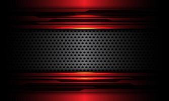 La bandera de metal de malla de círculo gris abstracto se superpone en el diseño de circuito cibernético negro metálico rojo ilustración de vector de textura de fondo de tecnología futurista moderna.
