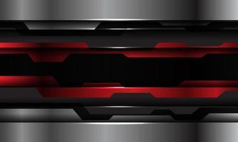 Resumen rojo negro metálico plata tecnología cibernética diseño futurista fondo moderno ilustración vectorial. vector