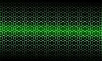 Patrón de malla hexagonal metálica de luz verde abstracta en ilustración de vector de fondo futurista moderno de diseño negro.