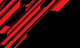 Circuito cibernético negro rojo abstracto con diseño de espacio en blanco ilustración de vector de fondo de tecnología futurista moderna.