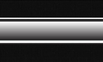 La línea de la bandera de plata del vector abstracto se superpone en el ejemplo del fondo del estilo futurista moderno del diseño del modelo de la malla del hexágono metálico oscuro.