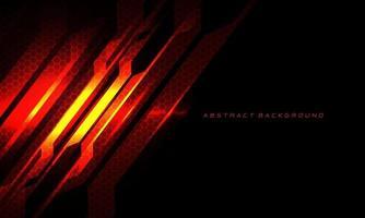 Resumen rojo fuego circuito metálico cyber slash malla hexagonal en negro con espacio en blanco y diseño de texto tecnología moderna fondo futurista ilustración vectorial. vector