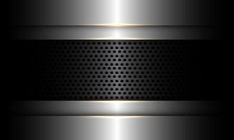 Banner de malla de círculo metálico gris oscuro abstracto en diseño plateado moderno lujo tecnología futurista fondo industrial ilustración vectorial. vector